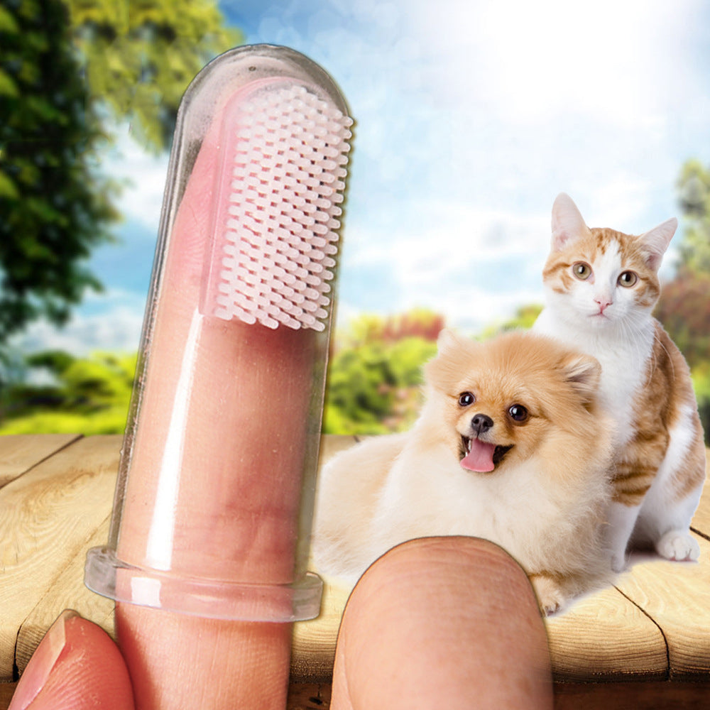 New Hot Selling Super Soft Pet Finger Toothbrush Teddy Dog Brush Bad Breath Tartar Teeth Tool Dog Cat Cleaning Supplies 2019