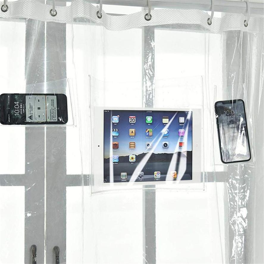 Bath Curtain Phone Tablet Holder - geniesave