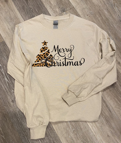 Christmas Long Sleeve T-Shirts Merry Christmas Cheetah Print
