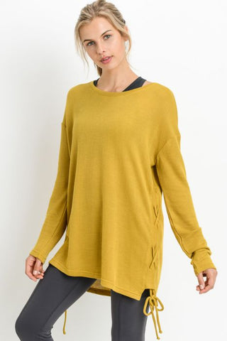 Mono B Side Spaghetti Strap Long Sleeve Tunics
