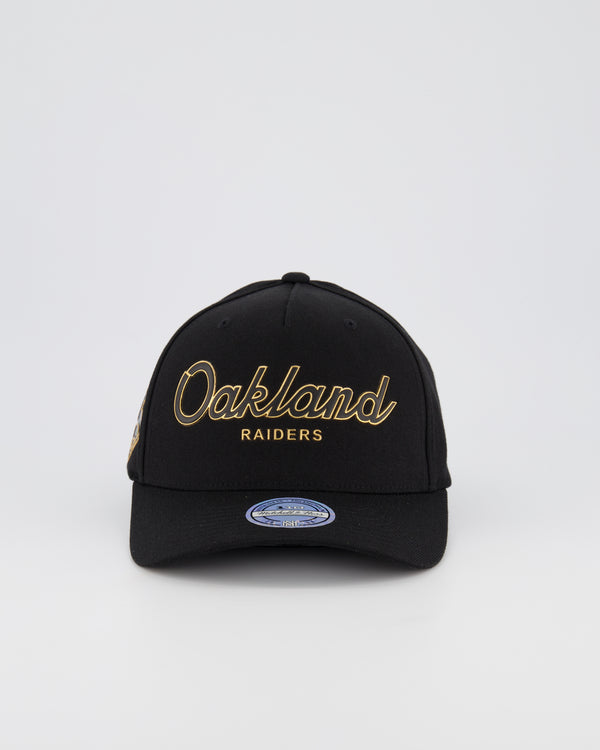 OAKLAND RAIDERS NFL PINCH 110 SNAPBACK - 3D SILICONE GOLD TEAM SCRIPT
