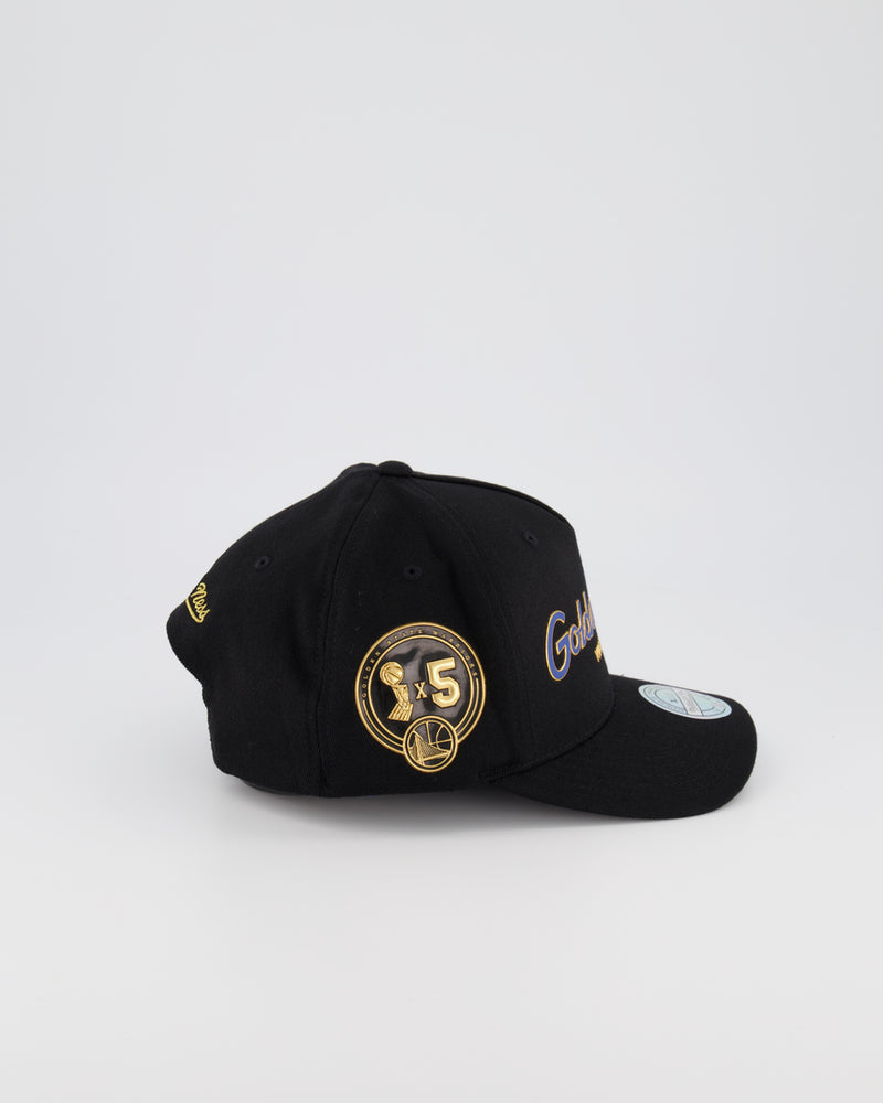 GOLDEN STATE WARRIORS NBA PINCH 110 SNAPBACK - 3D SILICONE GOLD TEAM SCRIPT