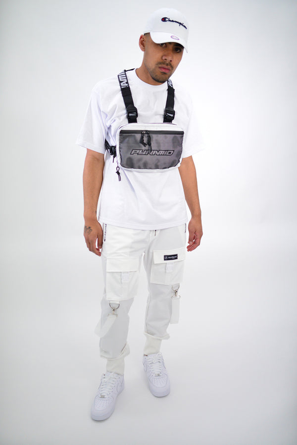 LASTLEVEL OFFSET CARGO TECH JOGGERS - WHITE