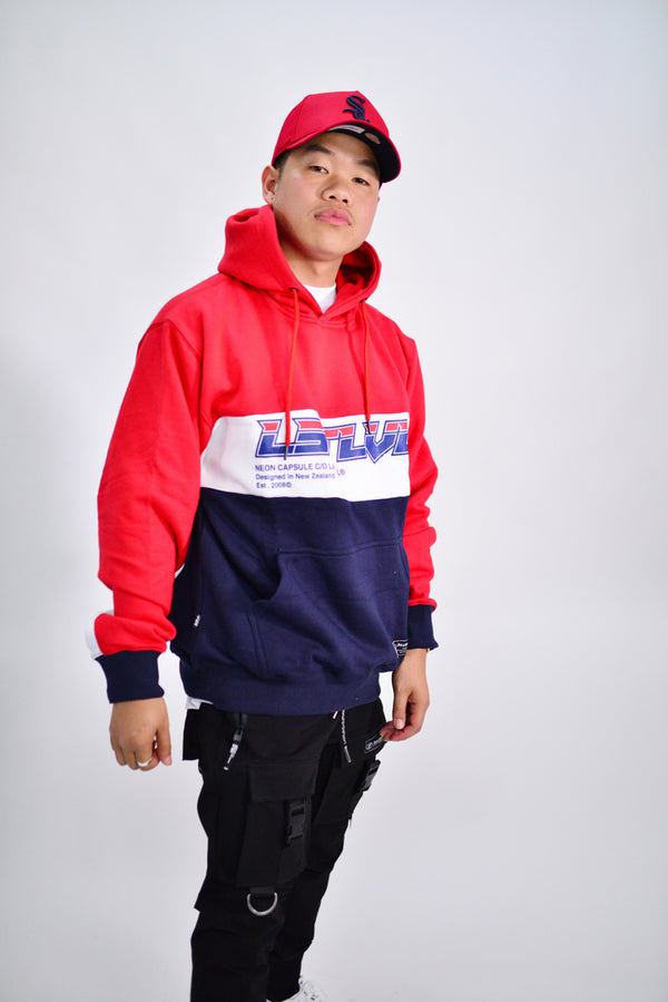 NEON CAPSULE 2.0 PALADIN FLEECE HOODY - RED/WHITE/NAVY