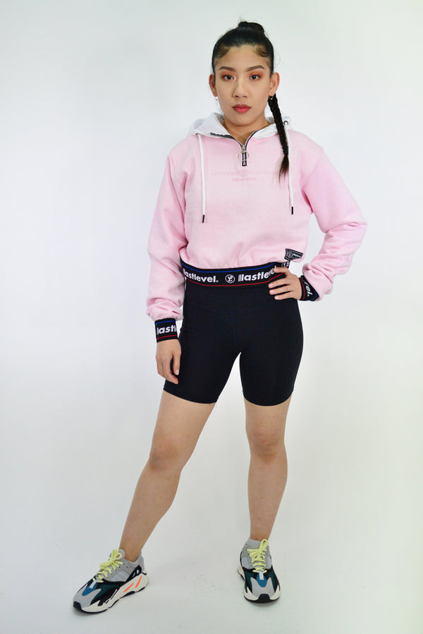 WOMENS NEON CAPSULE 2.0 CROPPED WEB BAND HOODY - PINK/WHITE