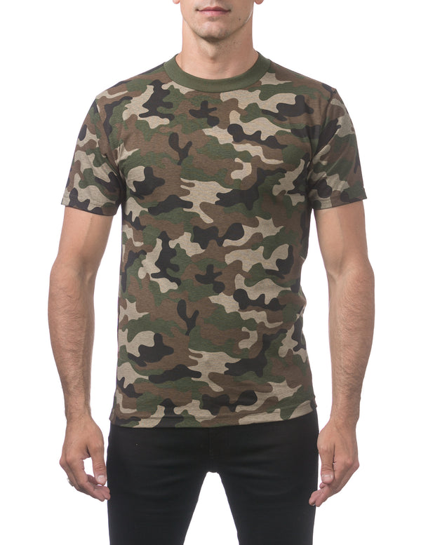 Proclub Men's Comfort Short Sleeve Tee - Regular - GREEN CAMO