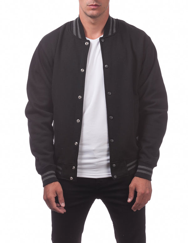 Men's Varsity Fleece Baseball Jacket - BLACK