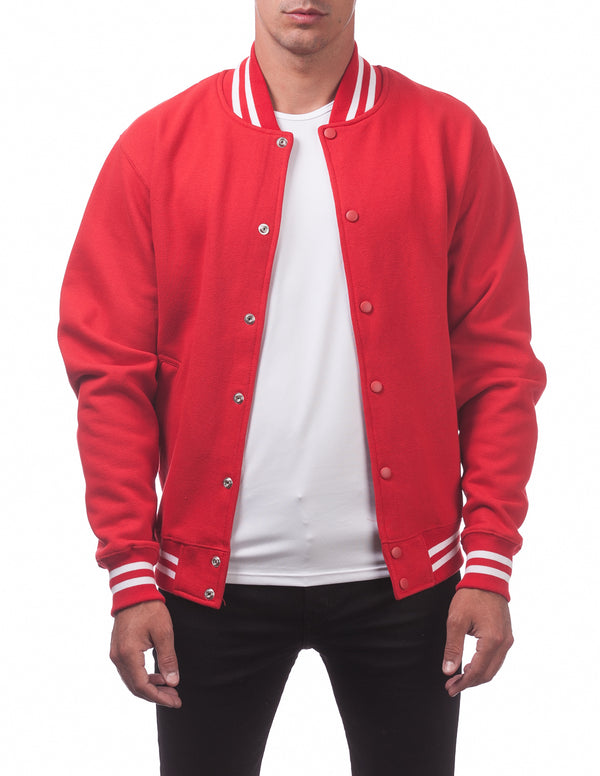 Men's Varsity Fleece Baseball Jacket - RED