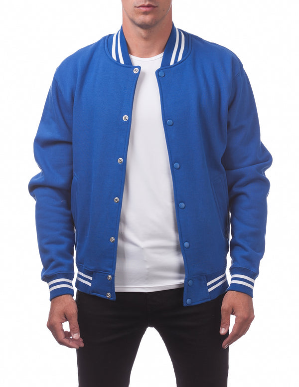 Men's Varsity Fleece Baseball Jacket - ROYAL