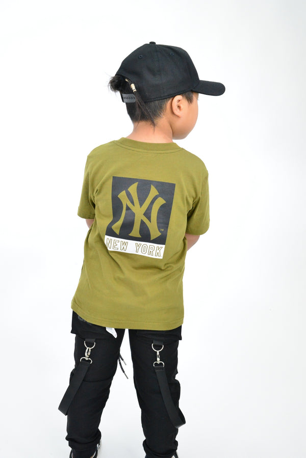 KIDS MAJESTIC MADISON TEE - NY YANKEES-OLIVE/BLACK
