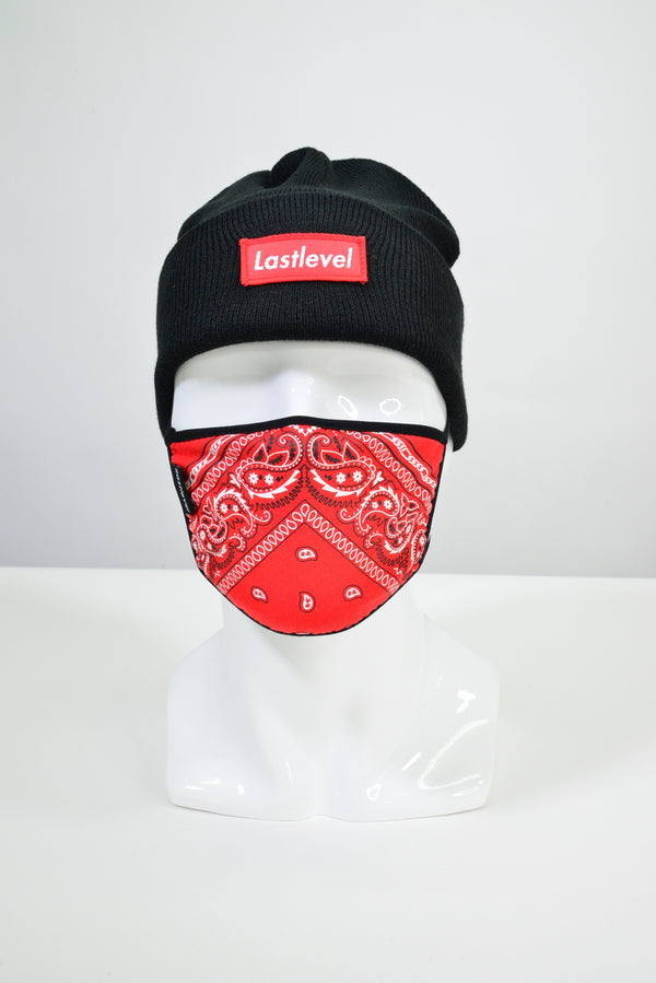 BOGO KNIT CUFF BEANIE - BLACK/RED