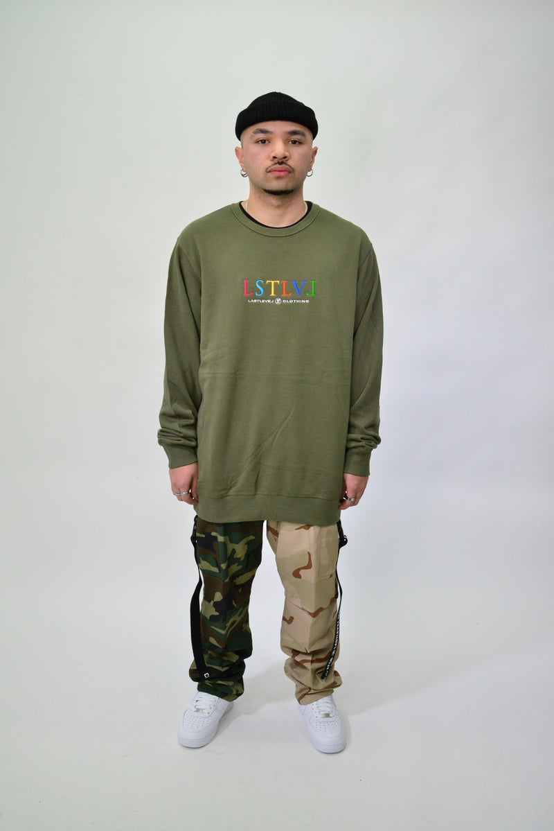 EMBROIDERED MULTI LOGO CREW - OLIVE
