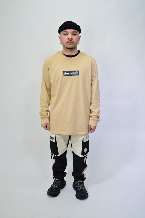 BANDANA BOX LOGO L/S TEE - TAN/BLACK