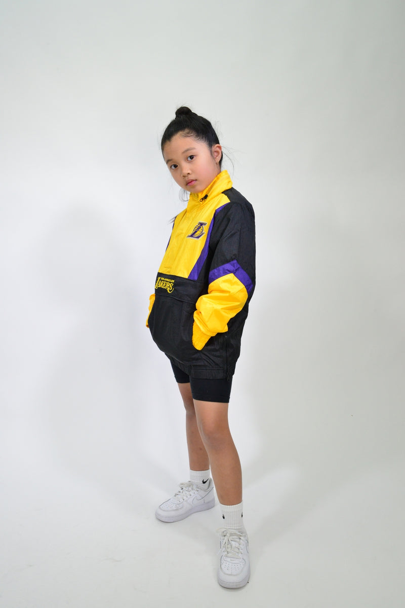 YOUTH MITCHELL & NESS NYLON ANORAK WINDBREAKER - LA LAKERS