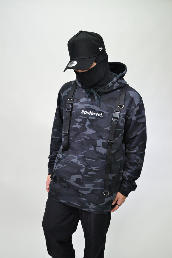 TACTICAL STRAP HOODIE - BLACK CAMO