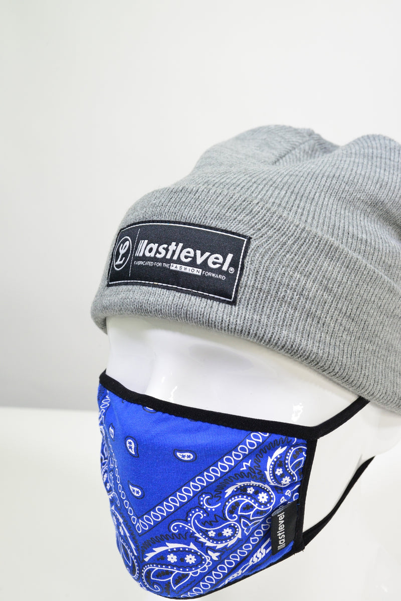 WOVEN LABEL KNIT CUFF BEANIE - GREY