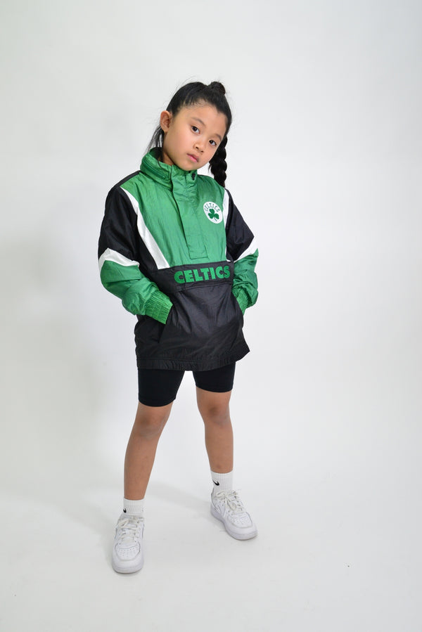 YOUTH MITCHELL & NESS NYLON ANORAK WINDBREAKER - BOSTON CELTICS
