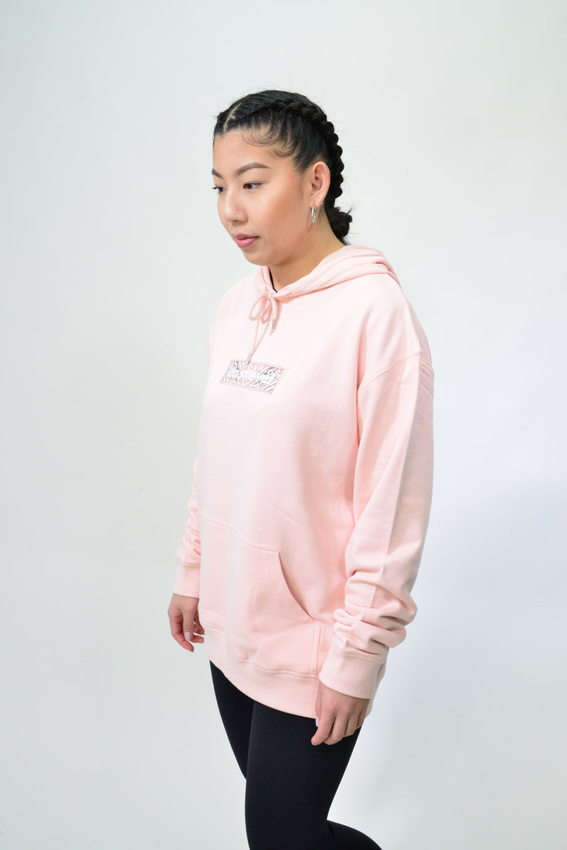 WOMENS EMBROIDERED BANDANA BOX LOGO HOODIE - PALE PINK