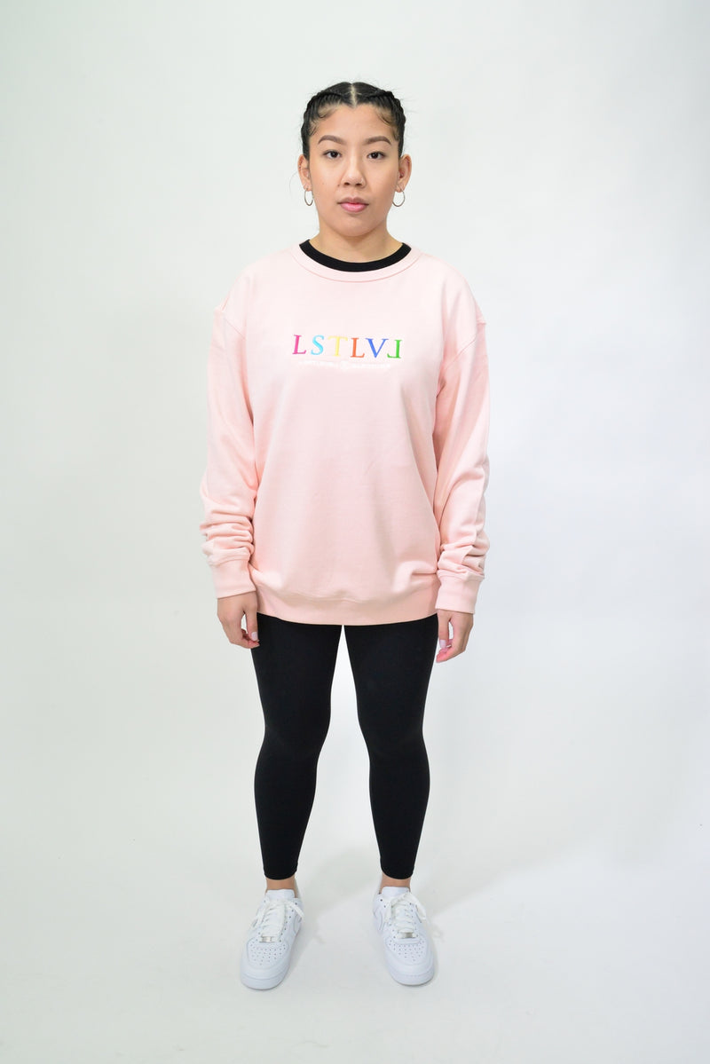 WOMENS EMBROIDERED MULTI LOGO CREW - PALE PINK
