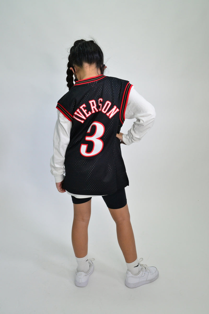 YOUTH SWINGMAN JERSEY PHILIDELPHIA 76ERS IVERSON - BLACK