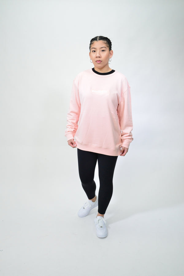 WOMENS EMBROIDERED BOX LOGO CREW - PALE PINK