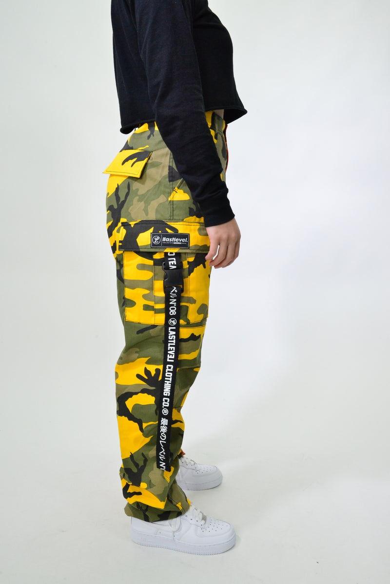 ROTHCO BDU CARGO SPLIT CAMO PANTS - STINGER YELLOW/SAVAGE ORANGE