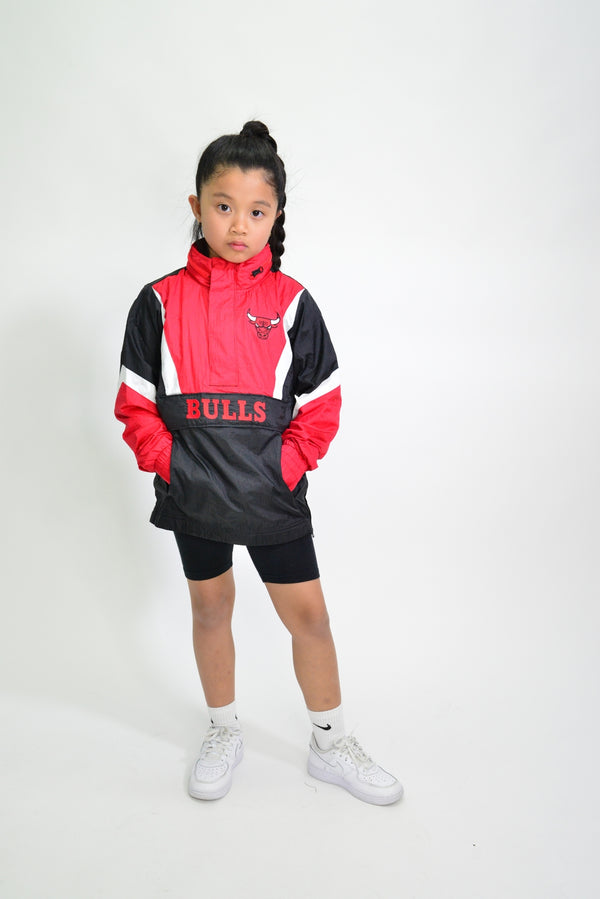 YOUTH MITCHELL & NESS NYLON ANORAK WINDBREAKER - CHICAGO BULLS
