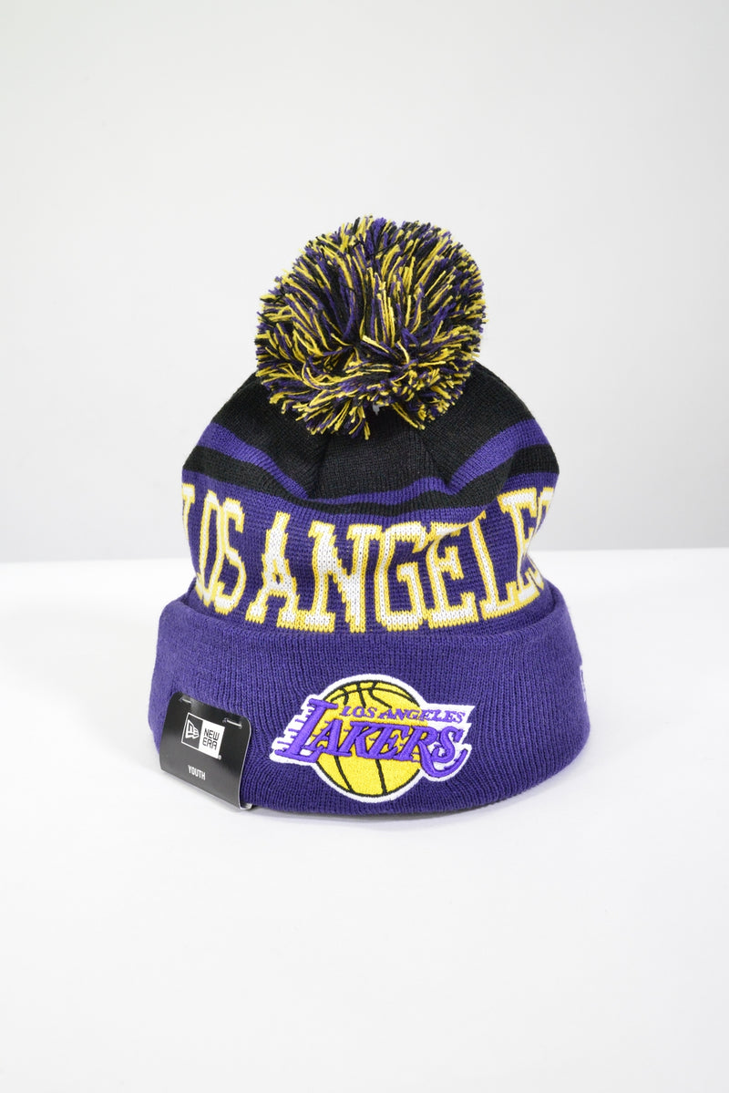 YOUTH LA LAKERS KNIT POM POM BEANIE
