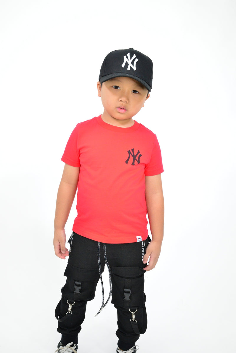 KIDS MAJESTIC JEANER TEE - NY YANKEES-RED/BLACK