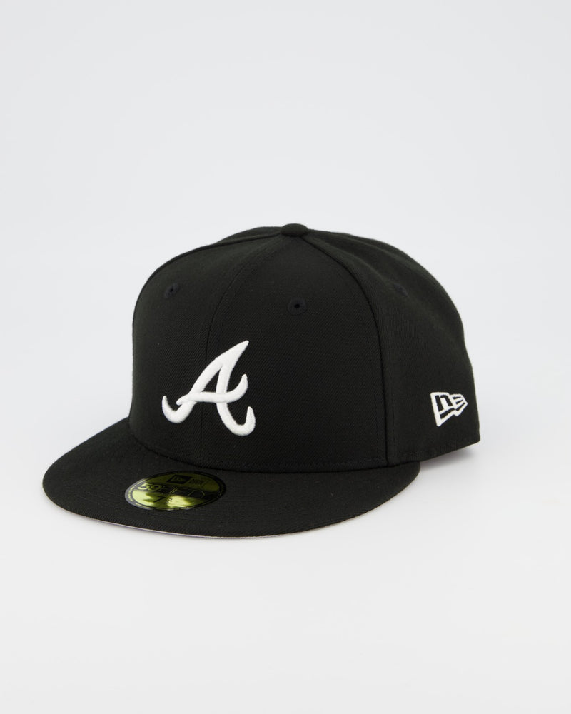 Atlanta Braves 59FIFTY Fitted Cap - Black/White