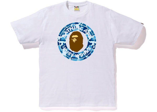 BAPE BLUE CAMO BUSY WORKS TEE - WHITE