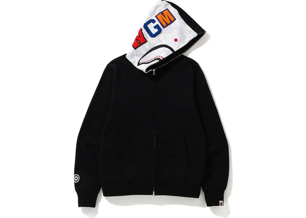 BAPE CITY CAMO SHARK FULL ZIP HOODIE - BLACK