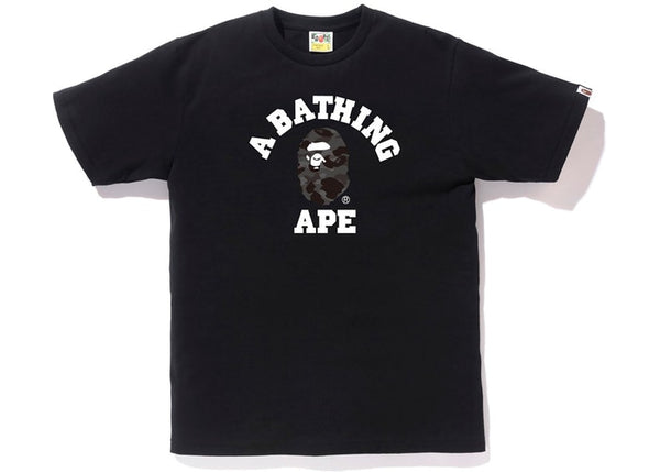 BAPE BLACK CAMO COLLEGE LOG TEE - BLACK