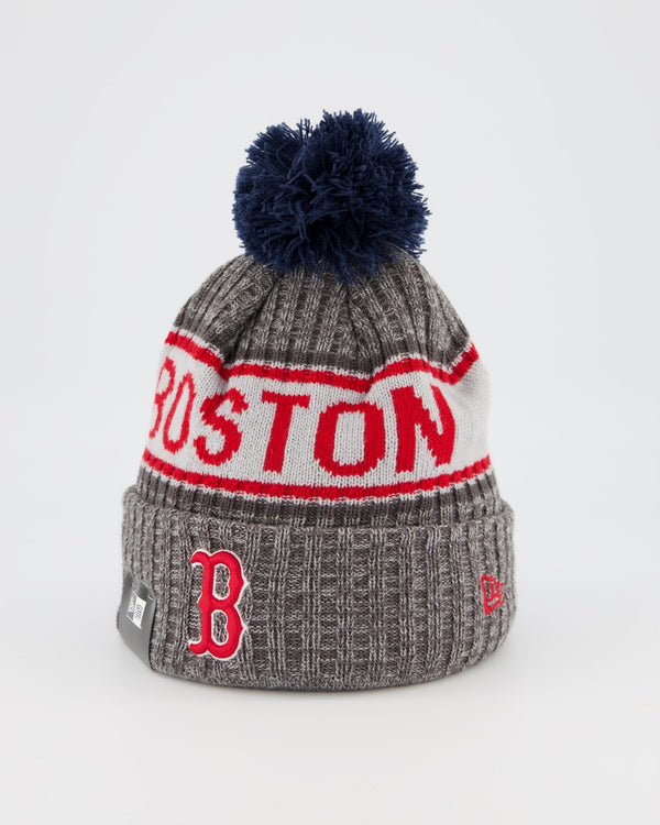 BOSTON REDSOX TEAM PANEL KNIT POM POM BEANIE - GREY