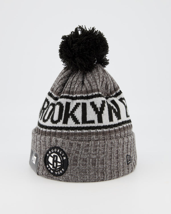 BROOKLYN NETS TEAM PANEL KNIT POM POM BEANIE - GREY