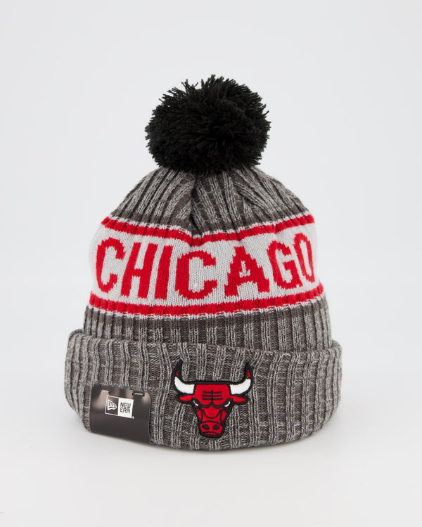 CHICAGO BULLS TEAM PANEL KNIT POM POM BEANIE - GREY
