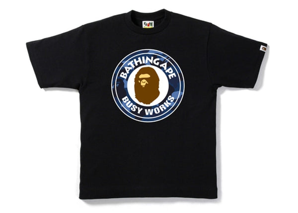 BAPE BLUE CAMO BUSY WORKS TEE - BLACK