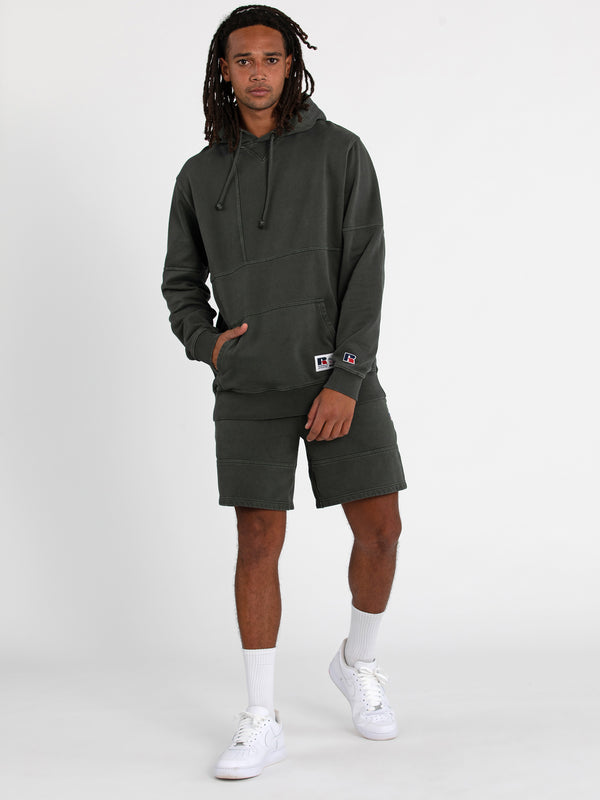 Russell Athletic Eagle R Panel Hoodie - OLIVE