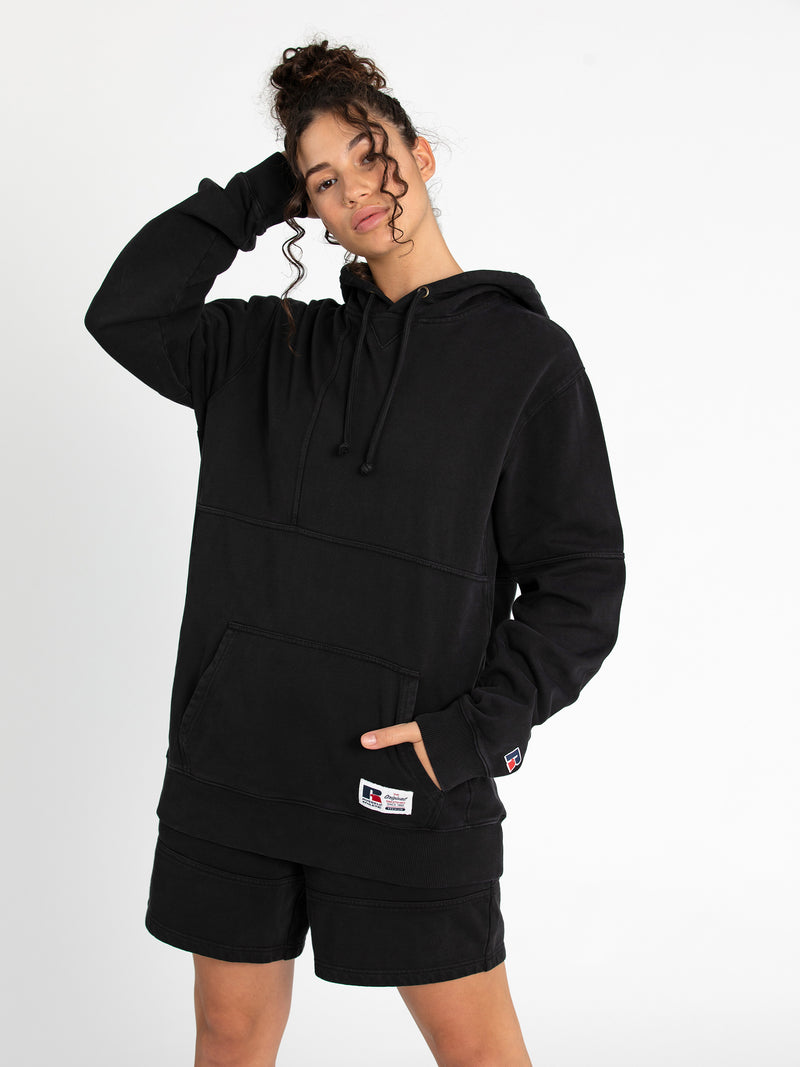 Russell Athletic Eagle R Panel Hoodie - BLACK