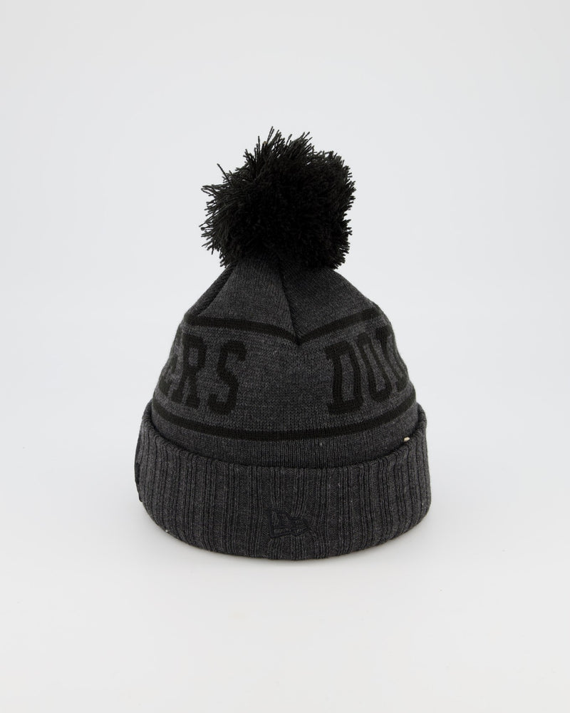 LA DODGERS TEAM PANEL KNIT POM POM BEANIE - CHARCOAL/BLACK