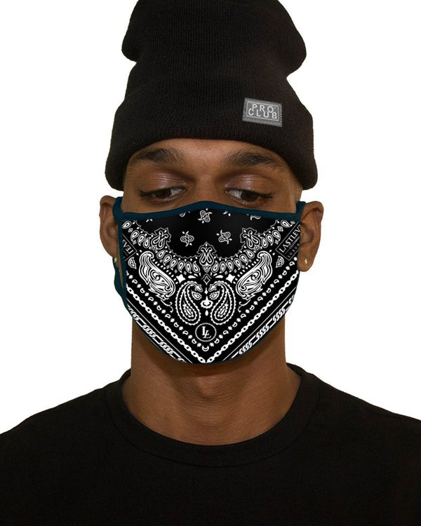 MENS BIG SIZE PAISLEY FACE MASK - BLACK