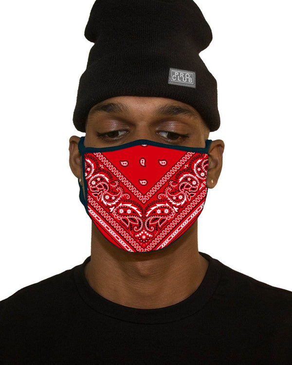 MENS BIG SIZE BANDANA FACE MASK - RED