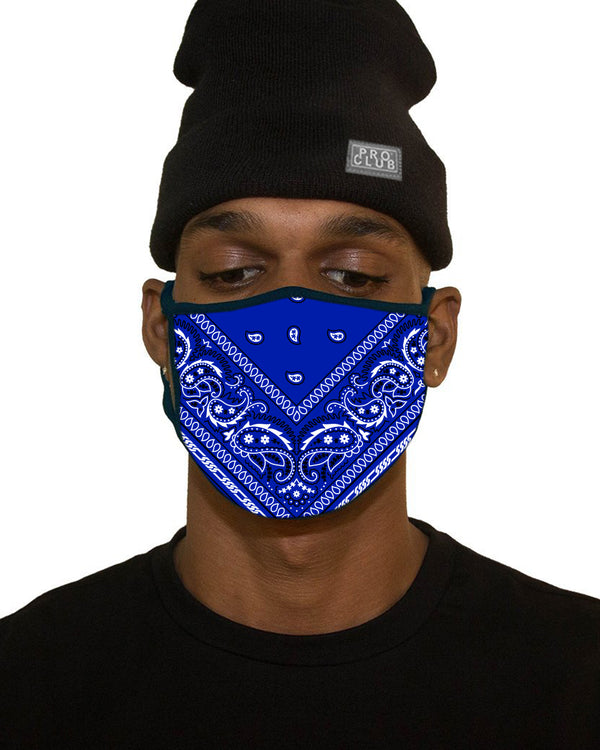MENS BIG SIZE BANDANA FACE MASK - ROYAL BLUE