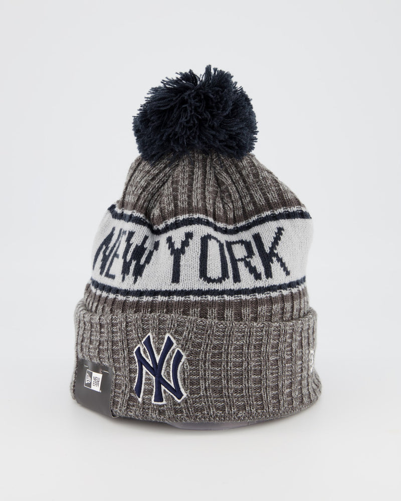 NEW YORK YANKEES TEAM PANEL KNIT POM POM BEANIE - GREY/BLACK