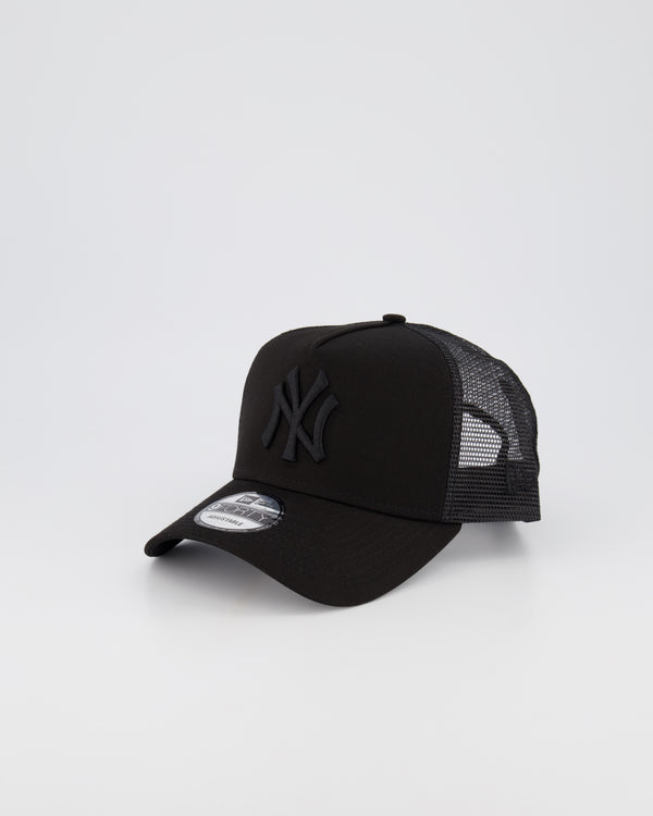NY YANKEES MESH TRUCKER 9FORTY A-FRAME - BLACK ON BLACK