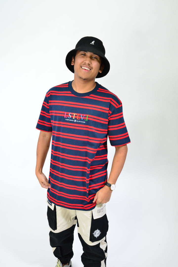 EMBRO LOGO STRIPE CLASSIC TEE - NAVY/RED