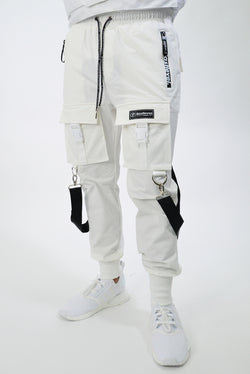 2.0 NEW BLACK STRAP OFFSET CARGO TECH JOGGERS - OFF WHITE