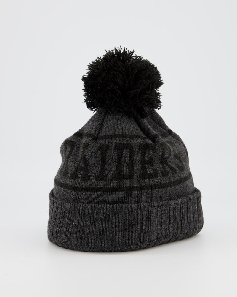LAS VEGAS RAIDERS TEAM PANEL KNIT POM POM BEANIE - CHARCOAL/BLACK