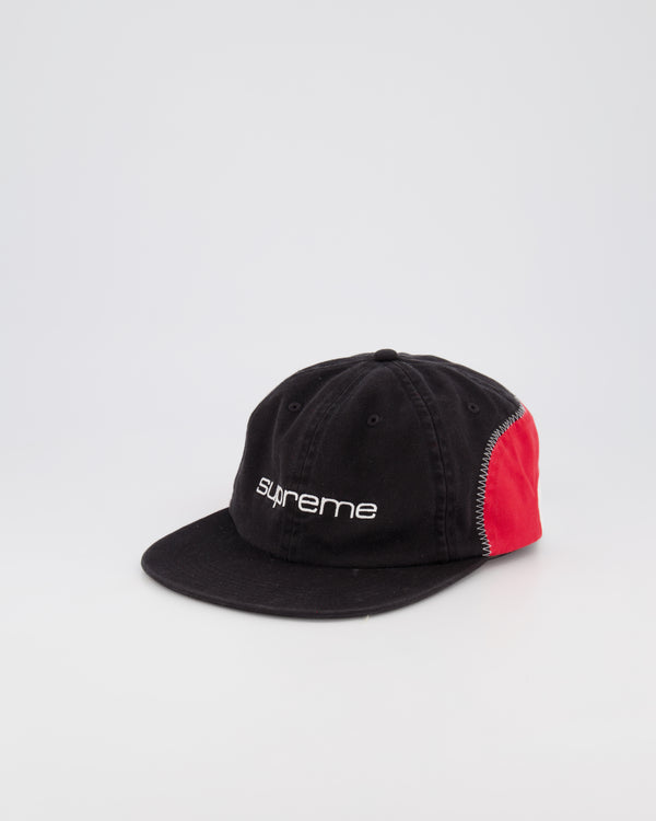 SUPREME 6 PANEL BASEBALL CAP - BLACK/RED