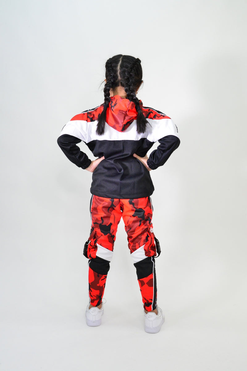 KIDS RED CAMO TRACK JACKET